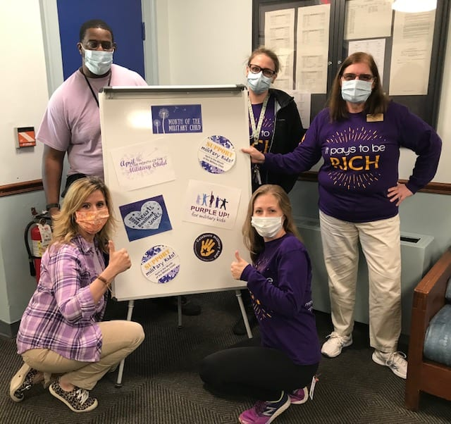 Education staff Purple Up for Military Children