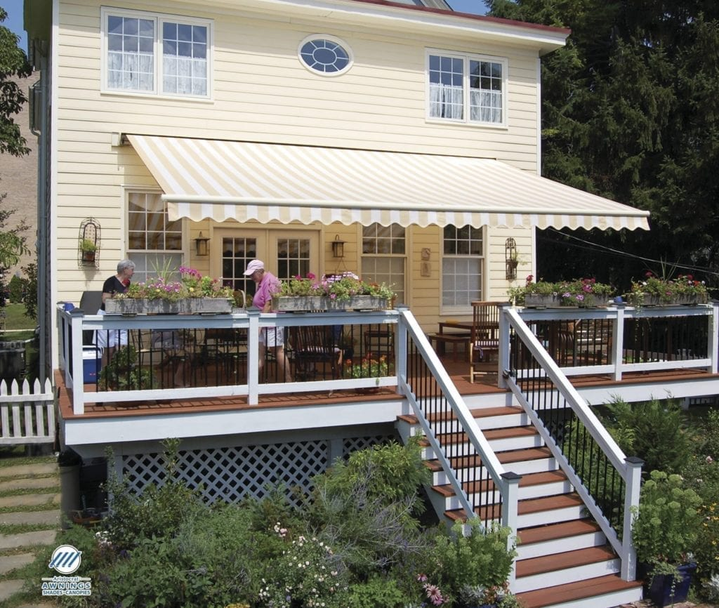 Retractable Awning Over Second Level Deck