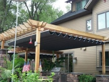 Pergola with Roman Fold Shades After