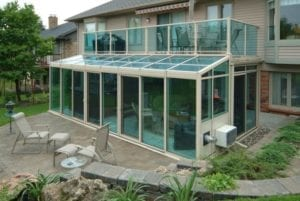 Sunroom with partially glass roof