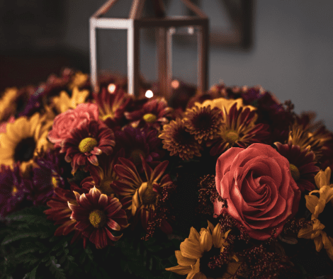 Fall flowers on table