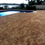 pool deck with brick pavers