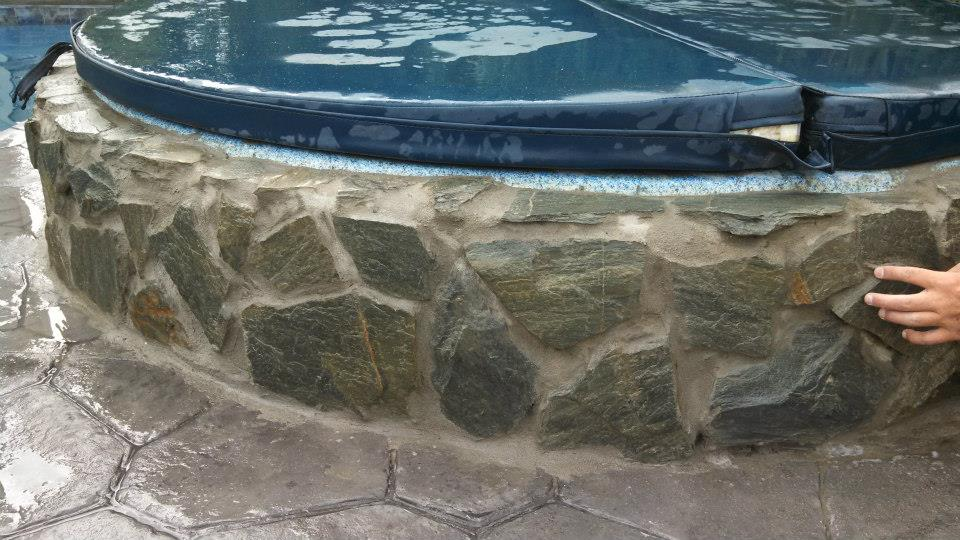 Stone masonry hot tub (after)