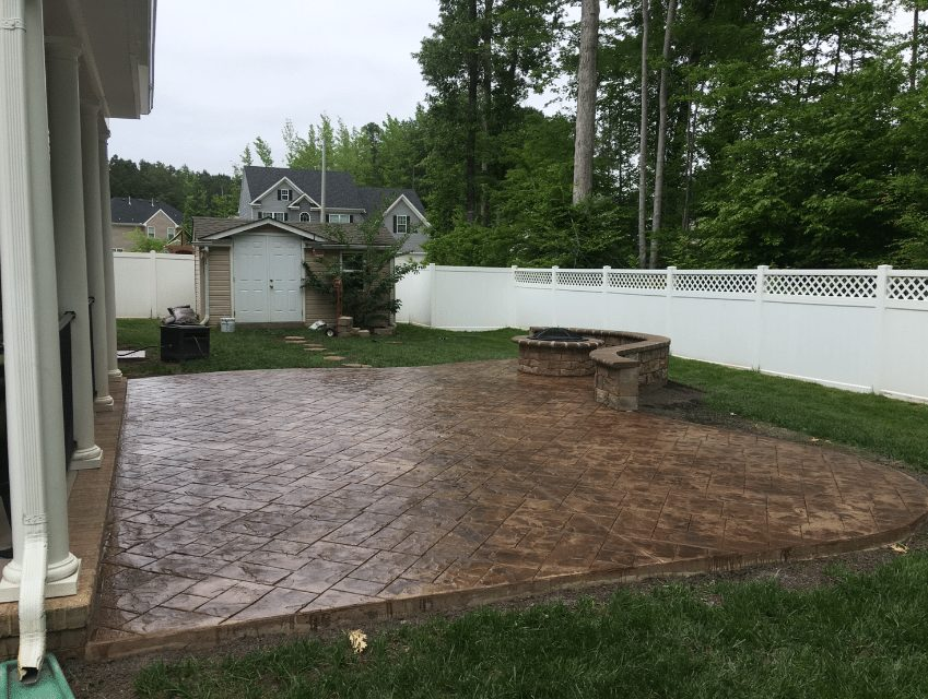 Stamped patio with firepit