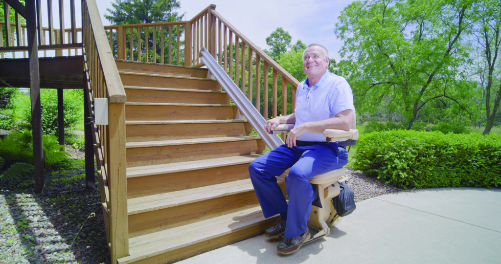 outdoor stairlift, Elite Outdoor Straight Stairlift (SRE-1010E), Hampton Roads Mobility