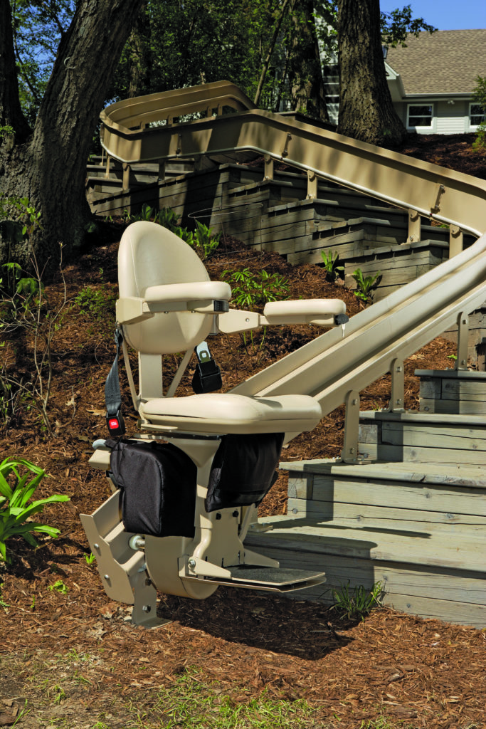 curved stairlift, Elite Outdoor Curved Stairlift (CRE-2110E), Hampton Roads Mobility